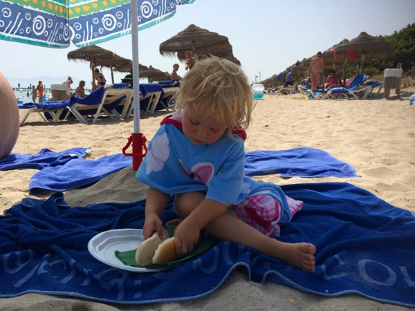 Mallorca, resa, strand, Alcudia, barnsemester, äta
